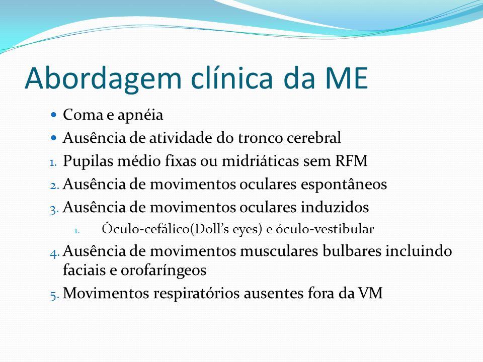 Abordagem clínica da ME Coma e apnéia Ausência de atividade do tronco cerebral 1.