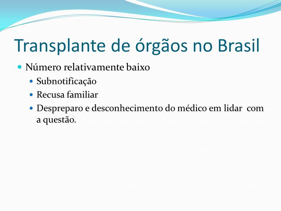 Transplante de órgãos no Brasil Número relativamente baixo Subnotificação Recusa familiar Despreparo e desconhecimento do médico em lidar com a questão.