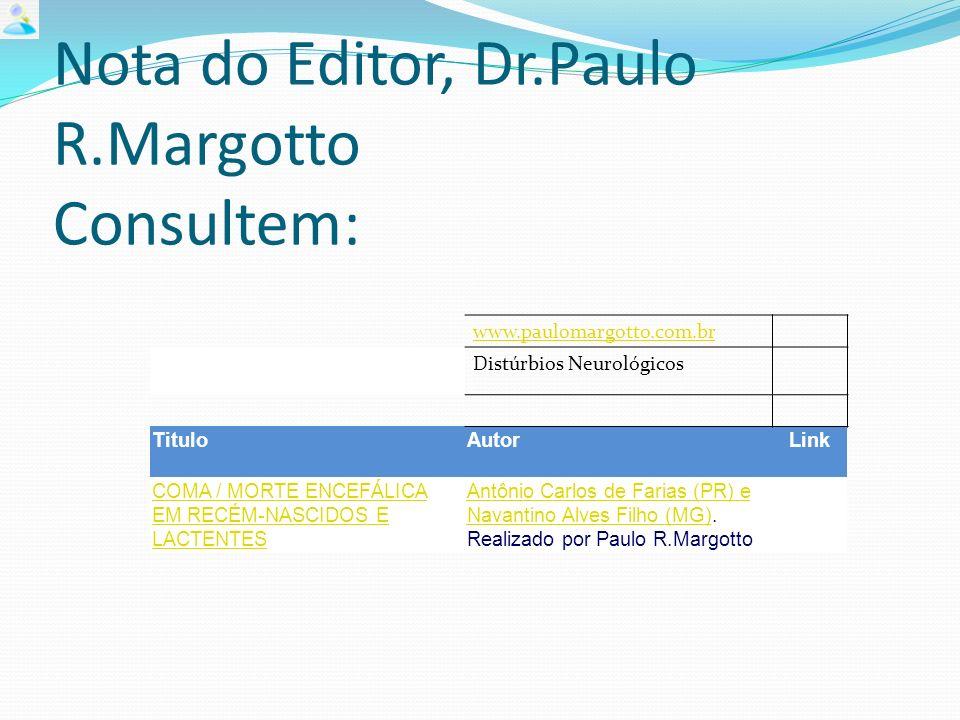 Nota do Editor, Dr.Paulo R.Margotto Consultem: www.paulomargotto.com.br Distúrbios Neurológicos TituloAutorLink COMA / MORTE ENCEFÁLICA EM RECÉM-NASCIDOS E LACTENTES Antônio Carlos de Farias (PR) e Navantino Alves Filho (MG)Antônio Carlos de Farias (PR) e Navantino Alves Filho (MG).