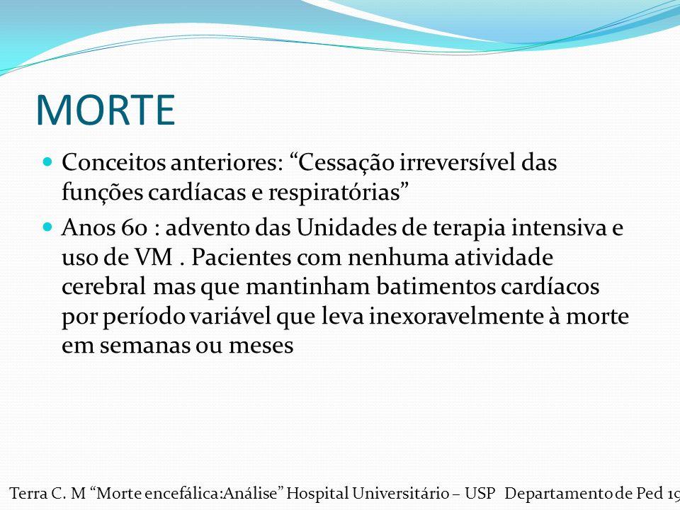 MORTE Conceitos anteriores: Cessação irreversível das funções cardíacas e respiratórias Anos 60 : advento das Unidades de terapia intensiva e uso de VM.