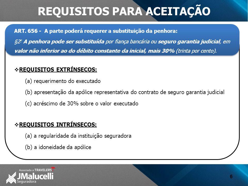 6 REQUISITOS PARA ACEITAÇÃO ART. 656 - A parte poderá requerer a substituição da penhora: §2 º A penhora pode ser substituída por fiança bancária ou s