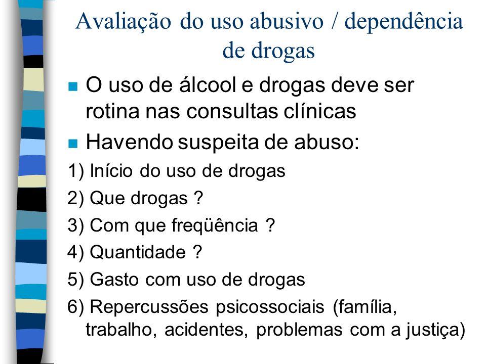 Avaliação do uso abusivo / dependência de drogas n O uso de álcool e drogas deve ser rotina nas consultas clínicas n Havendo suspeita de abuso: 1) Iní
