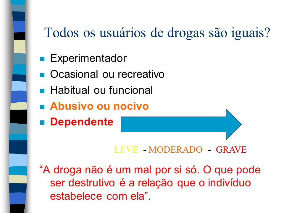 Todos os usuários de drogas são iguais? n Experimentador n Ocasional ou recreativo n Habitual ou funcional n Abusivo ou nocivo n Dependente A droga nã