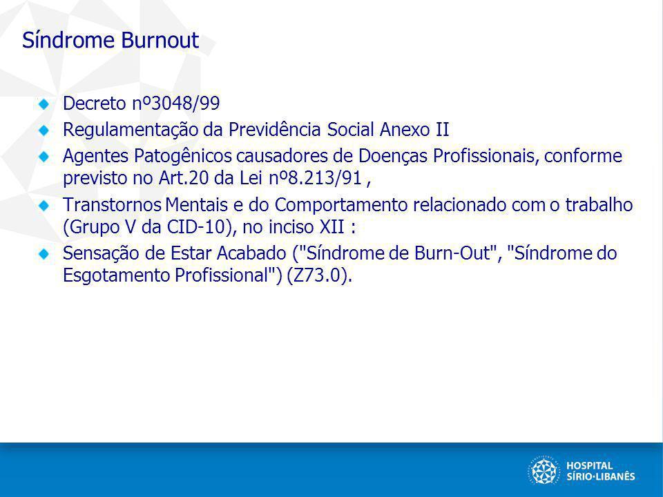 Síndrome Burnout Decreto nº3048/99 Regulamentação da Previdência Social Anexo II Agentes Patogênicos causadores de Doenças Profissionais, conforme pre
