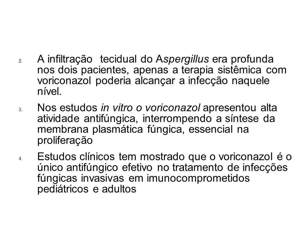 2. A infiltração tecidual do Aspergillus era profunda nos dois pacientes, apenas a terapia sistêmica com voriconazol poderia alcançar a infecção naque