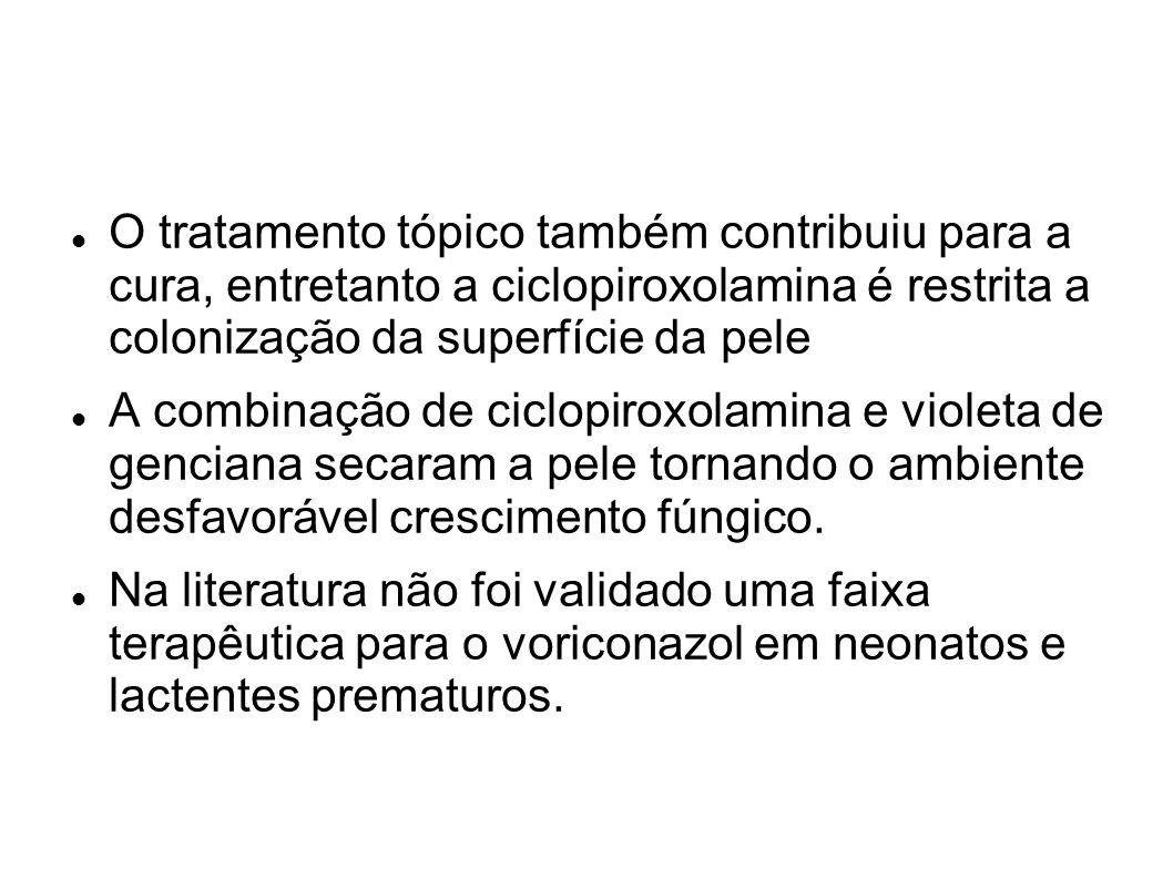 O tratamento tópico também contribuiu para a cura, entretanto a ciclopiroxolamina é restrita a colonização da superfície da pele A combinação de ciclo