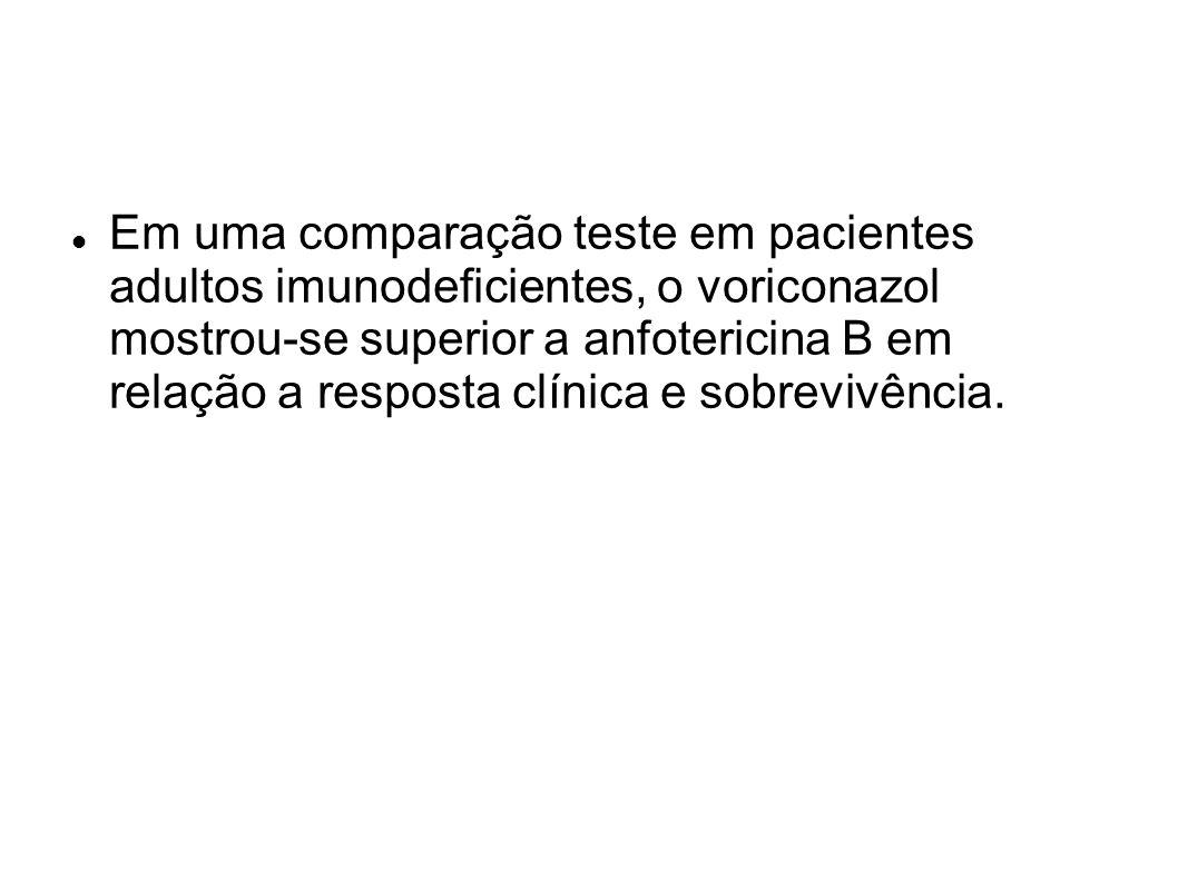 Em uma comparação teste em pacientes adultos imunodeficientes, o voriconazol mostrou-se superior a anfotericina B em relação a resposta clínica e sobr
