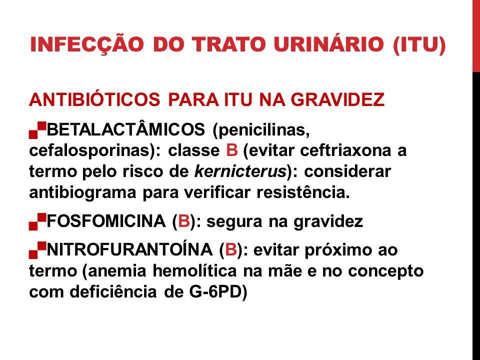ANTIBIÓTICOS PARA ITU NA GRAVIDEZ BETALACTÂMICOS (penicilinas, cefalosporinas): classe B (evitar ceftriaxona a termo pelo risco de kernicterus): considerar antibiograma para verificar resistência.