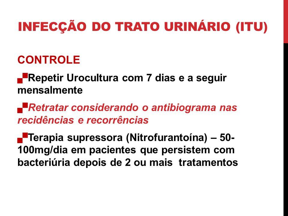 CONTROLE Repetir Urocultura com 7 dias e a seguir mensalmente Retratar considerando o antibiograma nas recidências e recorrências Terapia supressora (Nitrofurantoína) – 50- 100mg/dia em pacientes que persistem com bacteriúria depois de 2 ou mais tratamentos INFECÇÃO DO TRATO URINÁRIO (ITU)