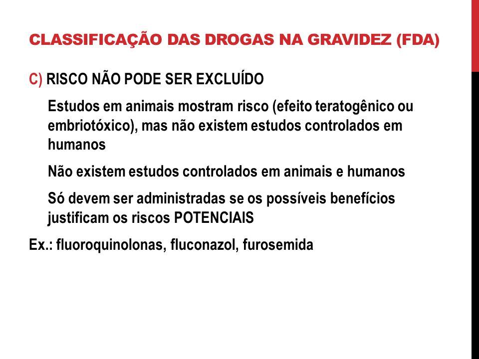 C) RISCO NÃO PODE SER EXCLUÍDO Estudos em animais mostram risco (efeito teratogênico ou embriotóxico), mas não existem estudos controlados em humanos Não existem estudos controlados em animais e humanos Só devem ser administradas se os possíveis benefícios justificam os riscos POTENCIAIS Ex.: fluoroquinolonas, fluconazol, furosemida CLASSIFICAÇÃO DAS DROGAS NA GRAVIDEZ (FDA)