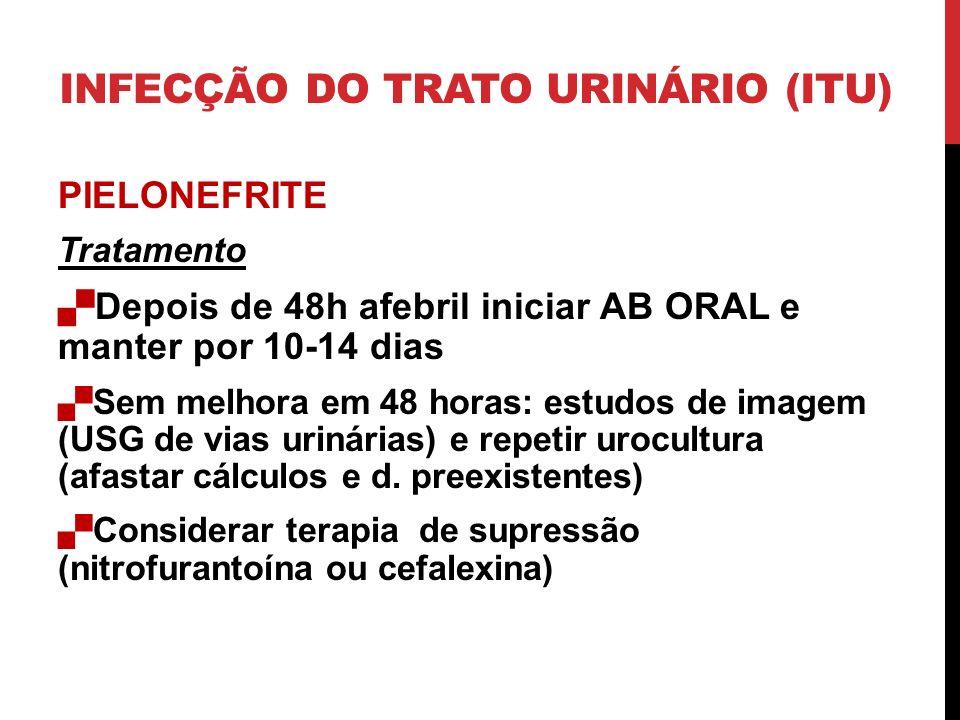 PIELONEFRITE Tratamento Depois de 48h afebril iniciar AB ORAL e manter por 10-14 dias Sem melhora em 48 horas: estudos de imagem (USG de vias urinárias) e repetir urocultura (afastar cálculos e d.