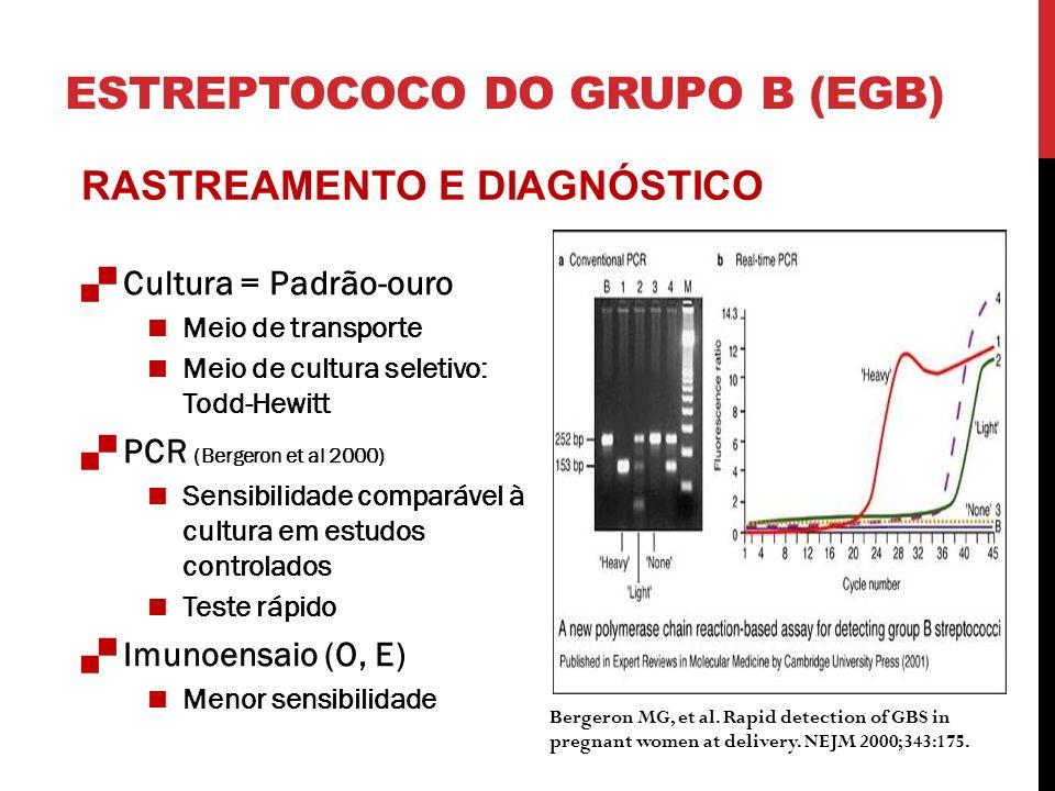 ESTREPTOCOCO DO GRUPO B (EGB) Cultura = Padrão-ouro Meio de transporte Meio de cultura seletivo: Todd-Hewitt PCR (Bergeron et al 2000) Sensibilidade comparável à cultura em estudos controlados Teste rápido Imunoensaio (O, E) Menor sensibilidade Bergeron MG, et al.