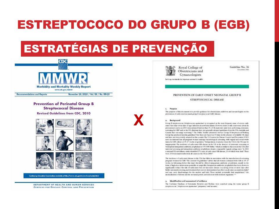 ESTRATÉGIAS DE PREVENÇÃO ESTREPTOCOCO DO GRUPO B (EGB) X