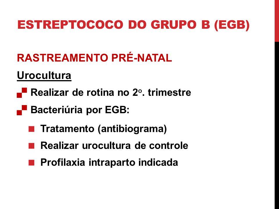 RASTREAMENTO PRÉ-NATAL Urocultura Realizar de rotina no 2 o. trimestre Bacteriúria por EGB: Tratamento (antibiograma) Realizar urocultura de controle