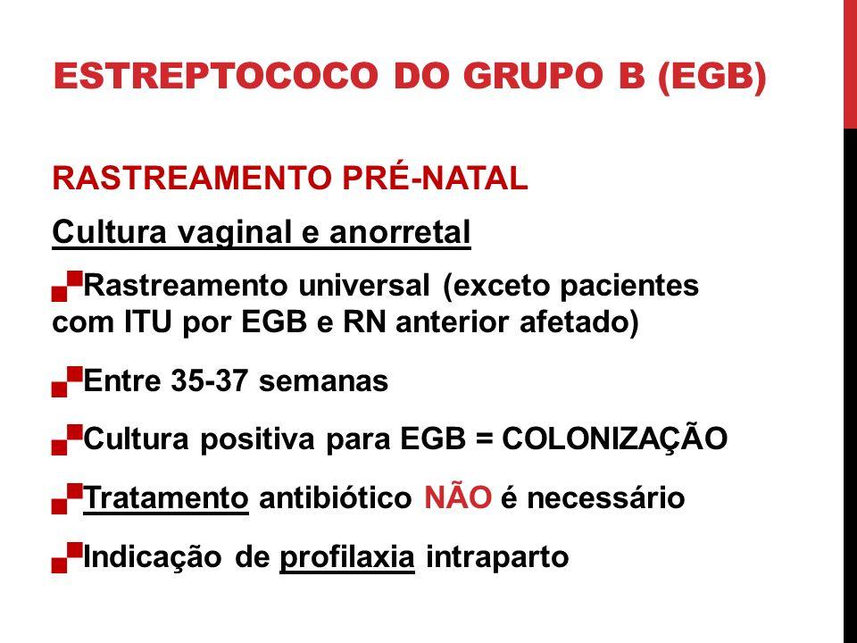 RASTREAMENTO PRÉ-NATAL Cultura vaginal e anorretal Rastreamento universal (exceto pacientes com ITU por EGB e RN anterior afetado) Entre 35-37 semanas