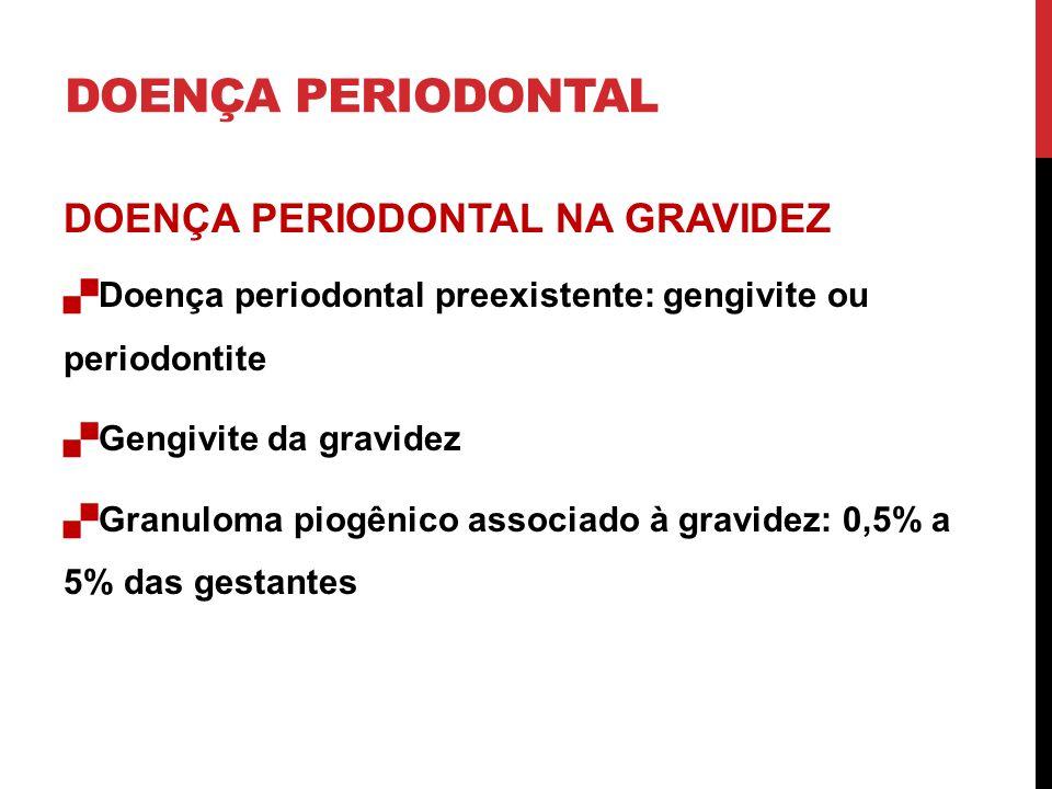 DOENÇA PERIODONTAL DOENÇA PERIODONTAL NA GRAVIDEZ Doença periodontal preexistente: gengivite ou periodontite Gengivite da gravidez Granuloma piogênico associado à gravidez: 0,5% a 5% das gestantes