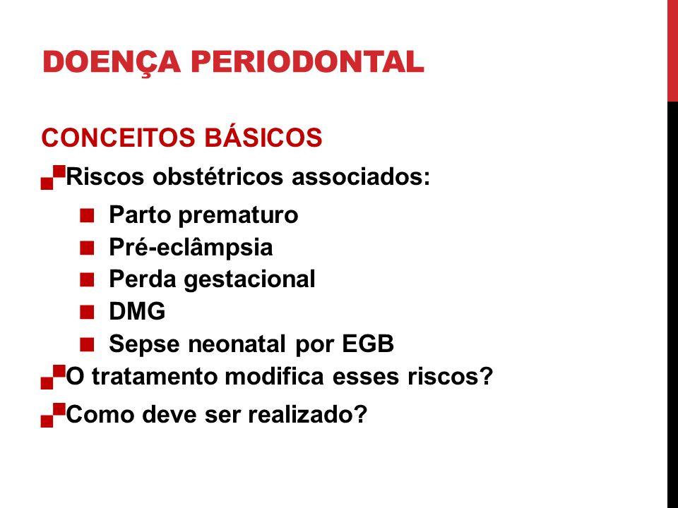 DOENÇA PERIODONTAL CONCEITOS BÁSICOS Riscos obstétricos associados: Parto prematuro Pré-eclâmpsia Perda gestacional DMG Sepse neonatal por EGB O trata