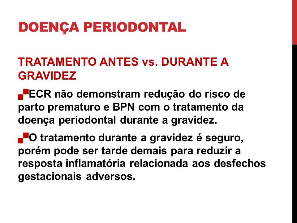 DOENÇA PERIODONTAL TRATAMENTO ANTES vs. DURANTE A GRAVIDEZ ECR não demonstram redução do risco de parto prematuro e BPN com o tratamento da doença per