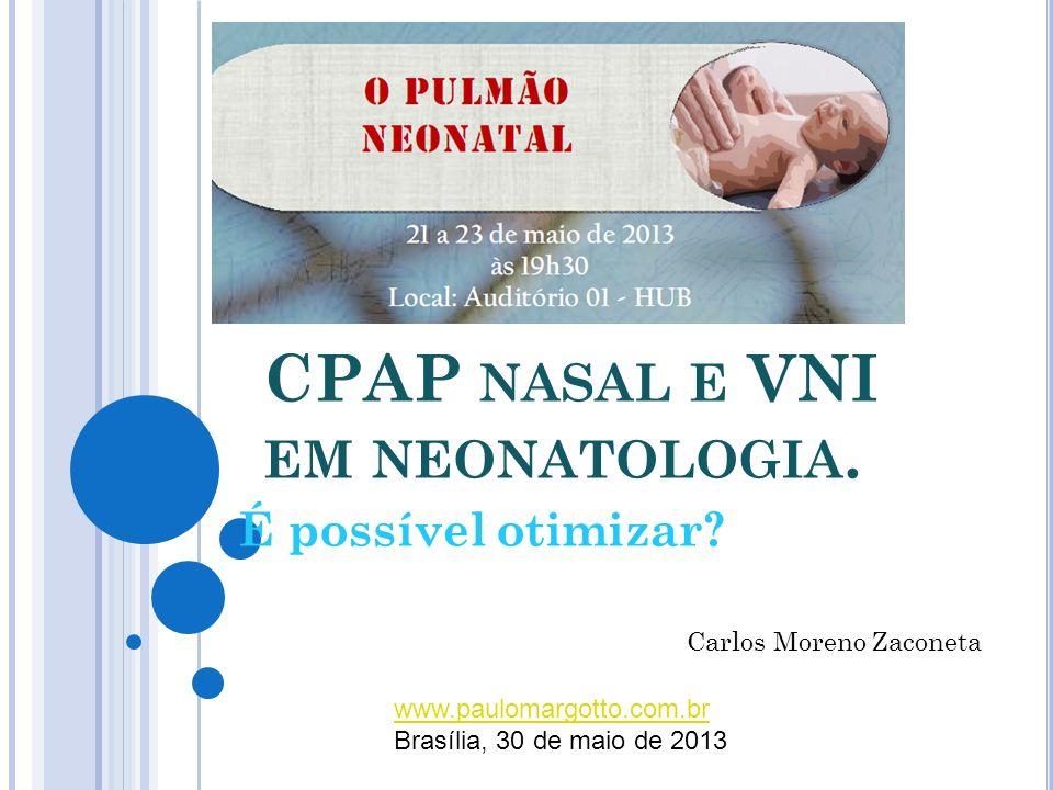 RESULTADOS E DISCUSSÃO No grupo CPAP: insucesso em 50% ( n = 6) Insucesso no CPAP 4 insuficiência respiratória clínica 1 Apnéia não responsiva 1 FiO2 maior que 60%