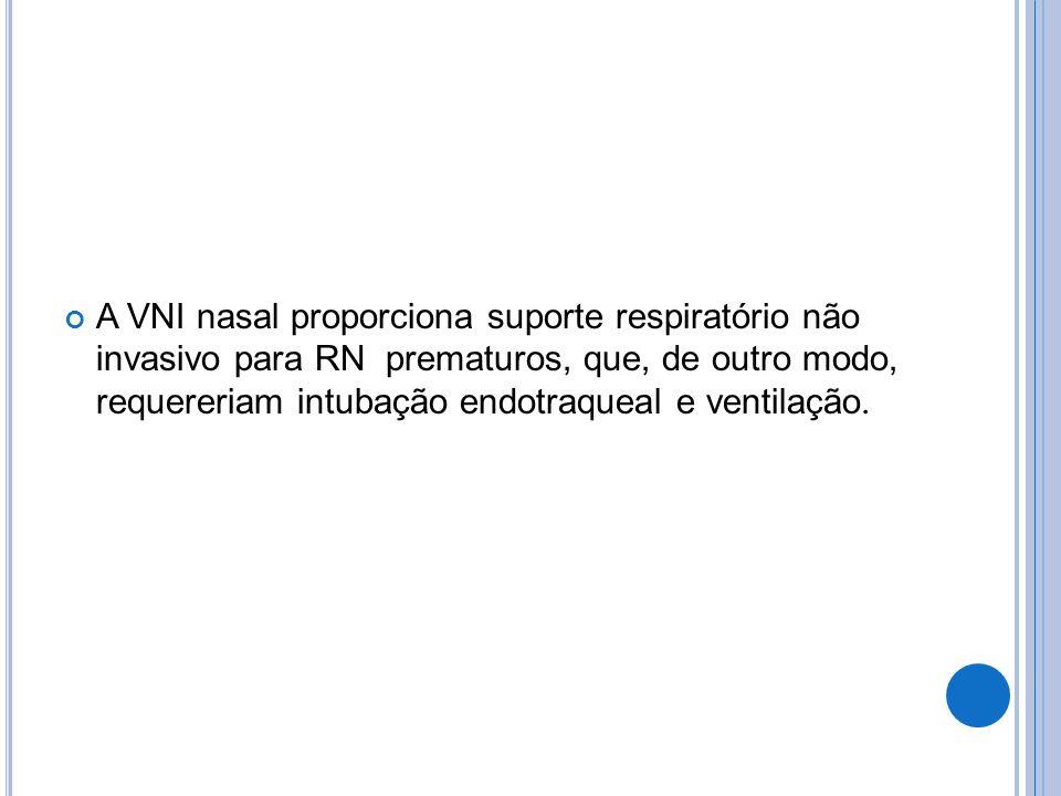 A VNI nasal proporciona suporte respiratório não invasivo para RN prematuros, que, de outro modo, requereriam intubação endotraqueal e ventilação.