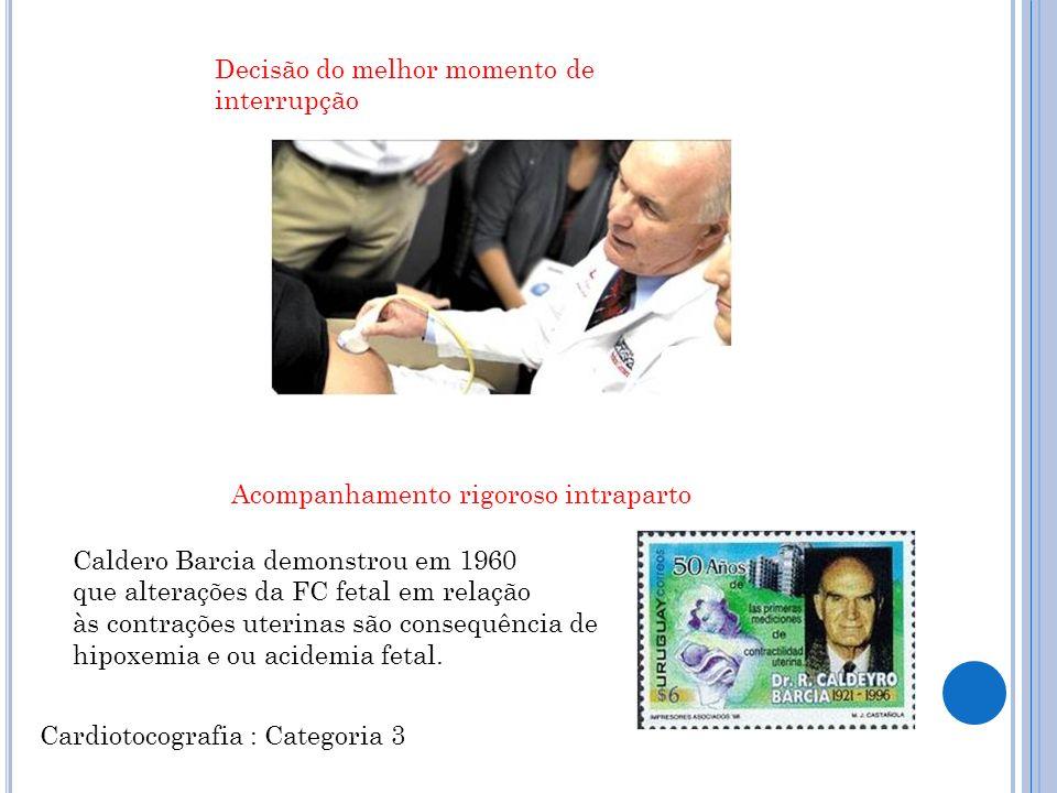 Caldero Barcia demonstrou em 1960 que alterações da FC fetal em relação às contrações uterinas são consequência de hipoxemia e ou acidemia fetal.