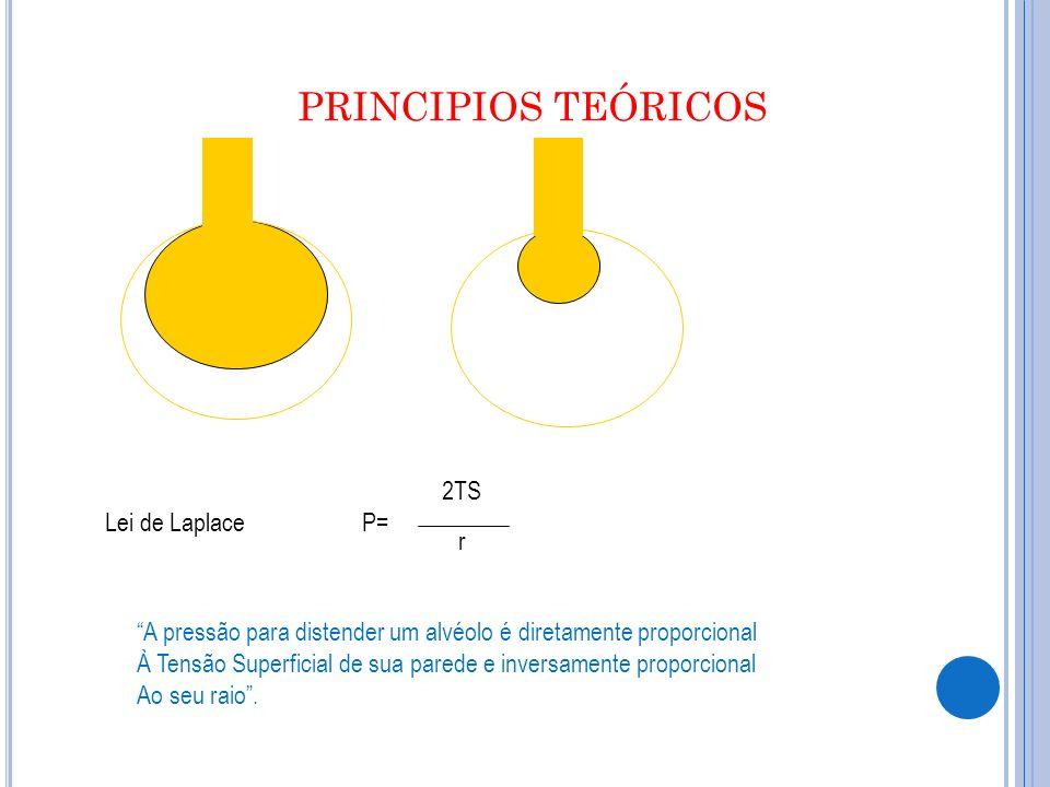 PRINCIPIOS TEÓRICOS Lei de LaplaceP= 2TS r A pressão para distender um alvéolo é diretamente proporcional À Tensão Superficial de sua parede e inversamente proporcional Ao seu raio.