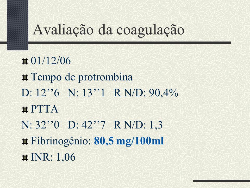 Avaliação da coagulação 01/12/06 Tempo de protrombina D: 126 N: 131 R N/D: 90,4% PTTA N: 320 D: 427 R N/D: 1,3 Fibrinogênio: 80,5 mg/100ml INR: 1,06