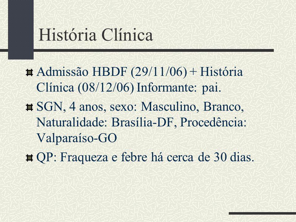 História Clínica Admissão HBDF (29/11/06) + História Clínica (08/12/06) Informante: pai. SGN, 4 anos, sexo: Masculino, Branco, Naturalidade: Brasília-