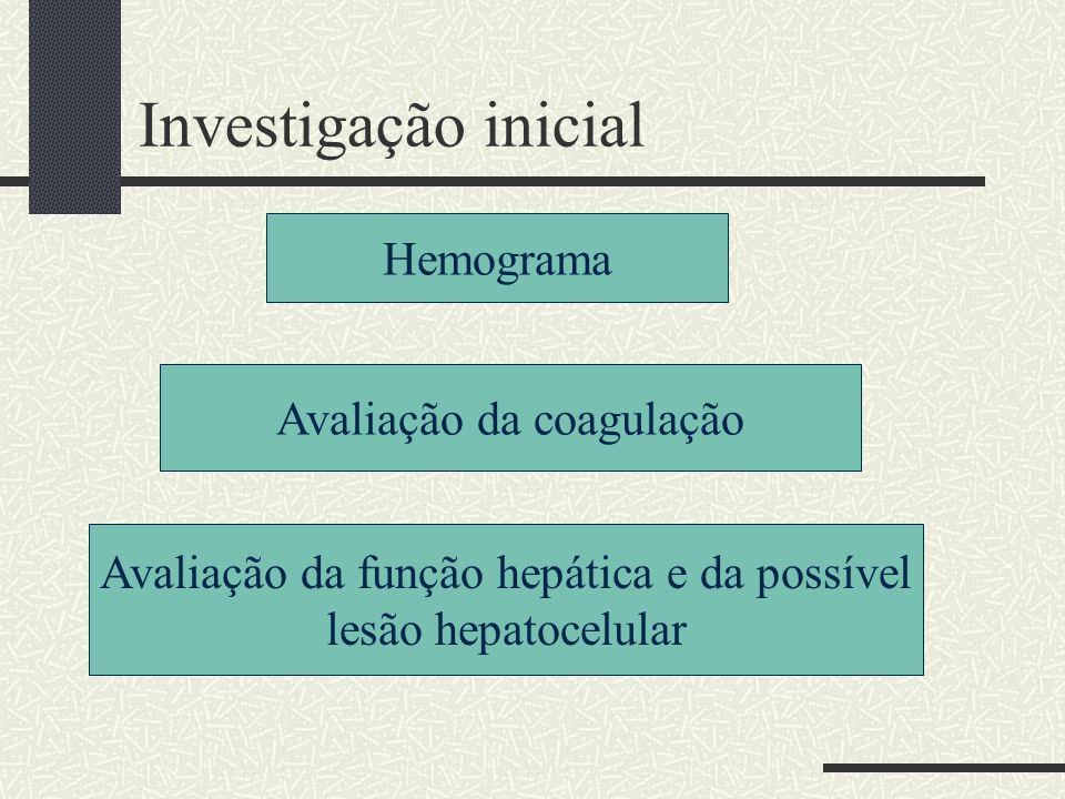Investigação inicial Hemograma Avaliação da coagulação Avaliação da função hepática e da possível lesão hepatocelular