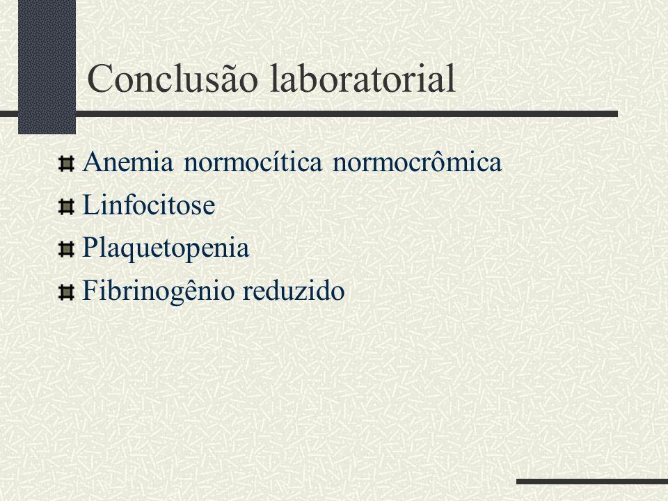 Conclusão laboratorial Anemia normocítica normocrômica Linfocitose Plaquetopenia Fibrinogênio reduzido