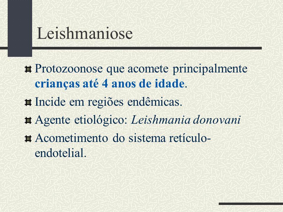 Leishmaniose Protozoonose que acomete principalmente crianças até 4 anos de idade. Incide em regiões endêmicas. Agente etiológico: Leishmania donovani