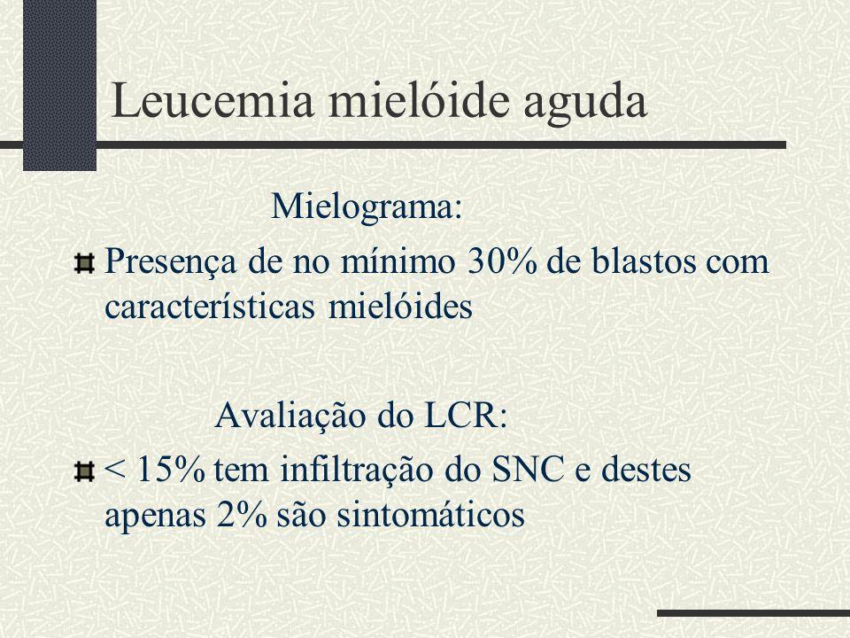 Leucemia mielóide aguda Mielograma: Presença de no mínimo 30% de blastos com características mielóides Avaliação do LCR: < 15% tem infiltração do SNC