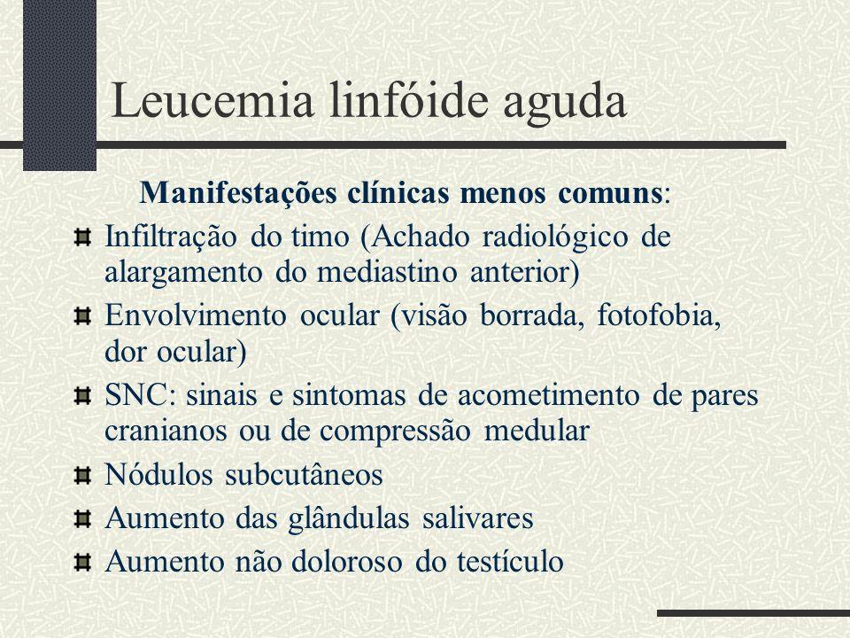 Leucemia linfóide aguda Manifestações clínicas menos comuns: Infiltração do timo (Achado radiológico de alargamento do mediastino anterior) Envolvimen