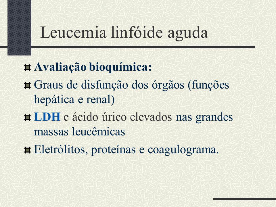 Leucemia linfóide aguda Avaliação bioquímica: Graus de disfunção dos órgãos (funções hepática e renal) LDH e ácido úrico elevados nas grandes massas l