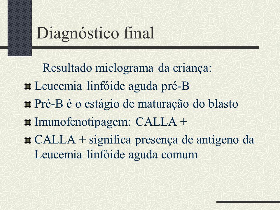 Diagnóstico final Resultado mielograma da criança: Leucemia linfóide aguda pré-B Pré-B é o estágio de maturação do blasto Imunofenotipagem: CALLA + CA