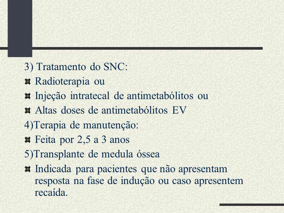 3) Tratamento do SNC: Radioterapia ou Injeção intratecal de antimetabólitos ou Altas doses de antimetabólitos EV 4)Terapia de manutenção: Feita por 2,