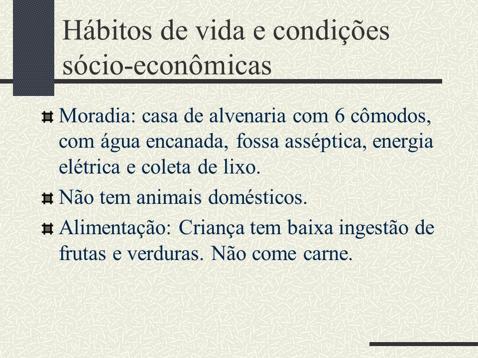 Hábitos de vida e condições sócio-econômicas Moradia: casa de alvenaria com 6 cômodos, com água encanada, fossa asséptica, energia elétrica e coleta d