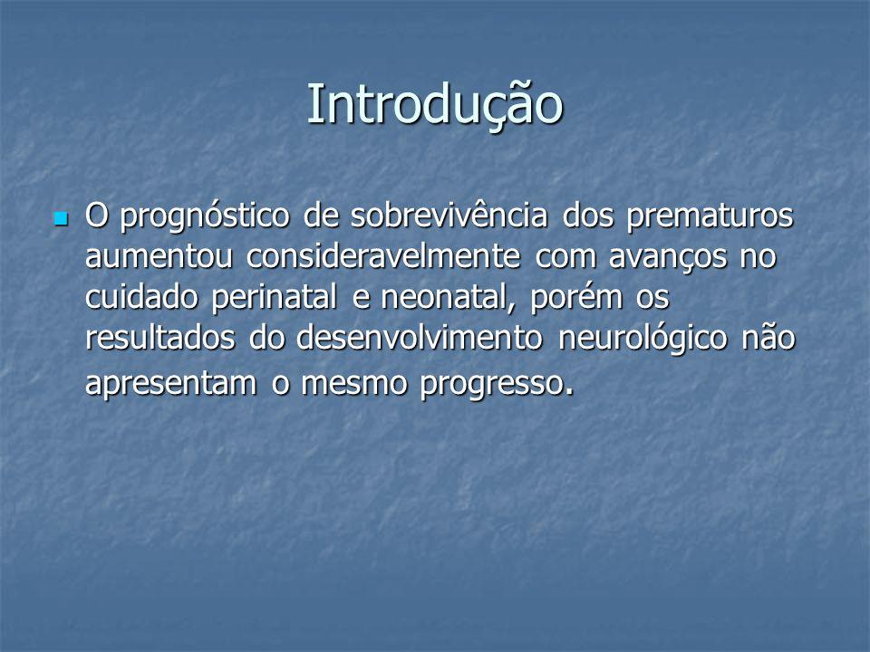Introdução O prognóstico de sobrevivência dos prematuros aumentou consideravelmente com avanços no cuidado perinatal e neonatal, porém os resultados d