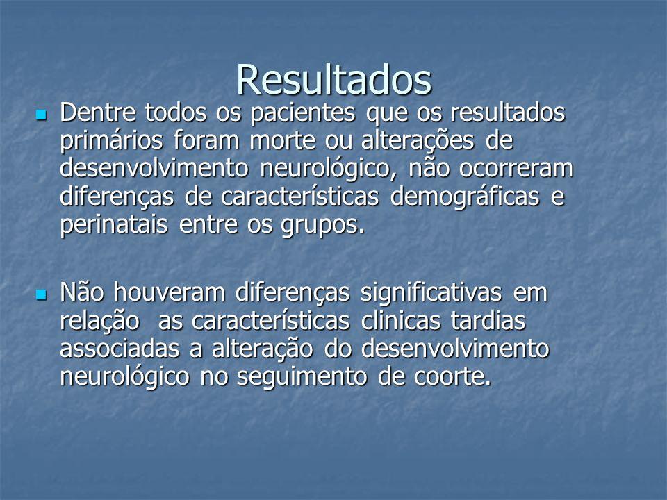 Resultados Dentre todos os pacientes que os resultados primários foram morte ou alterações de desenvolvimento neurológico, não ocorreram diferenças de