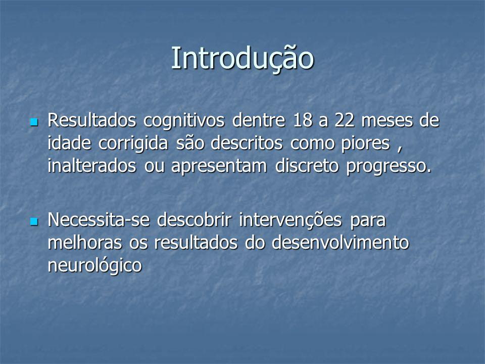 Introdução Resultados cognitivos dentre 18 a 22 meses de idade corrigida são descritos como piores, inalterados ou apresentam discreto progresso. Resu