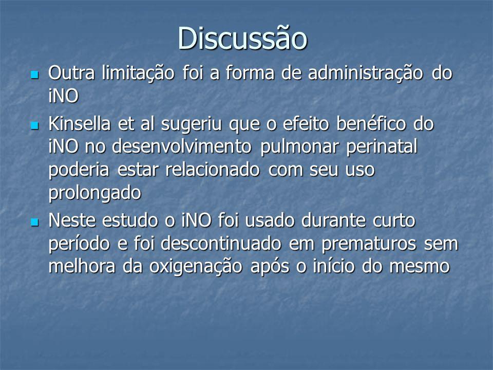 Discussão Outra limitação foi a forma de administração do iNO Outra limitação foi a forma de administração do iNO Kinsella et al sugeriu que o efeito