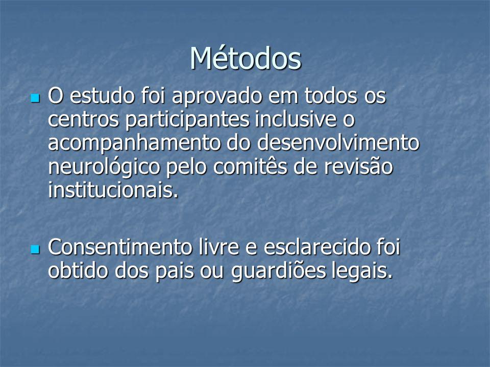Métodos O estudo foi aprovado em todos os centros participantes inclusive o acompanhamento do desenvolvimento neurológico pelo comitês de revisão inst