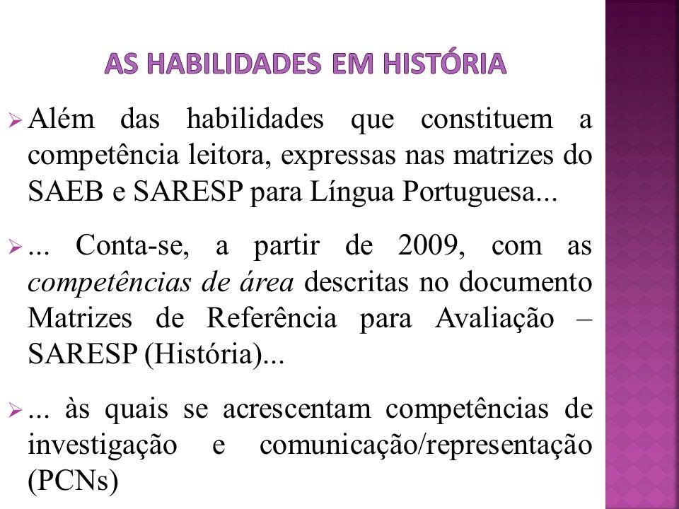 Além das habilidades que constituem a competência leitora, expressas nas matrizes do SAEB e SARESP para Língua Portuguesa...... Conta-se, a partir de