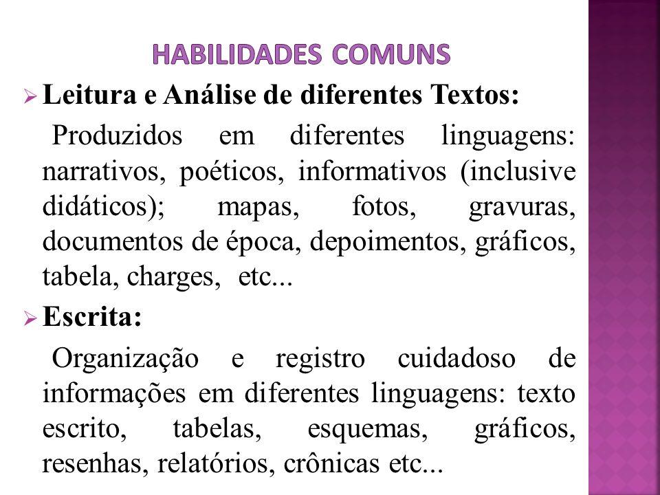 Leitura e Análise de diferentes Textos: Produzidos em diferentes linguagens: narrativos, poéticos, informativos (inclusive didáticos); mapas, fotos, g