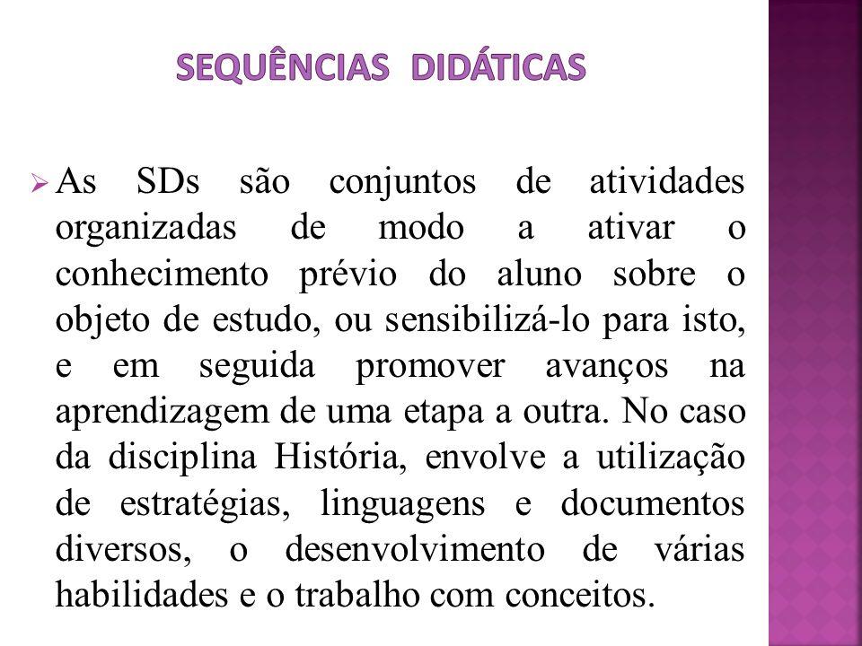 As SDs são conjuntos de atividades organizadas de modo a ativar o conhecimento prévio do aluno sobre o objeto de estudo, ou sensibilizá-lo para isto,