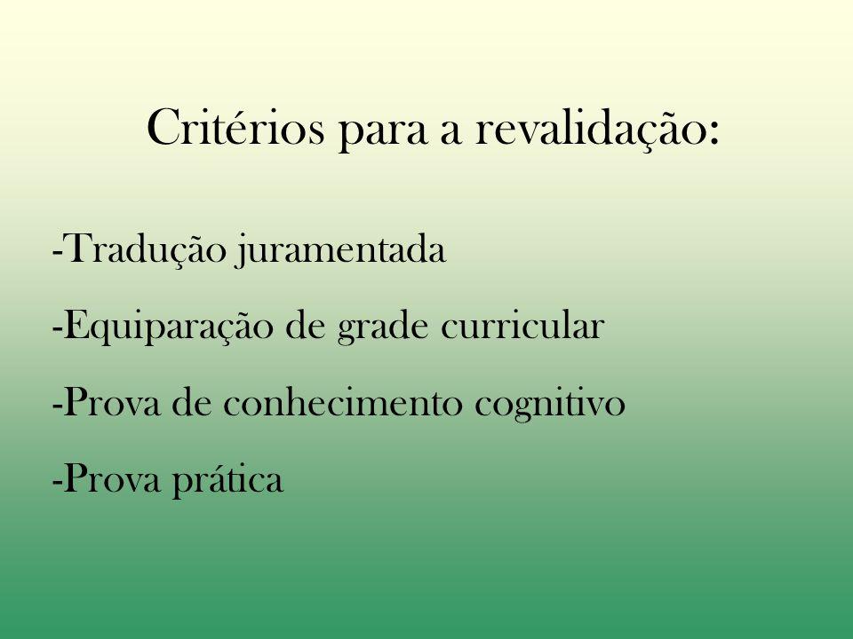 Critérios para a revalidação: -Tradução juramentada -Equiparação de grade curricular -Prova de conhecimento cognitivo -Prova prática