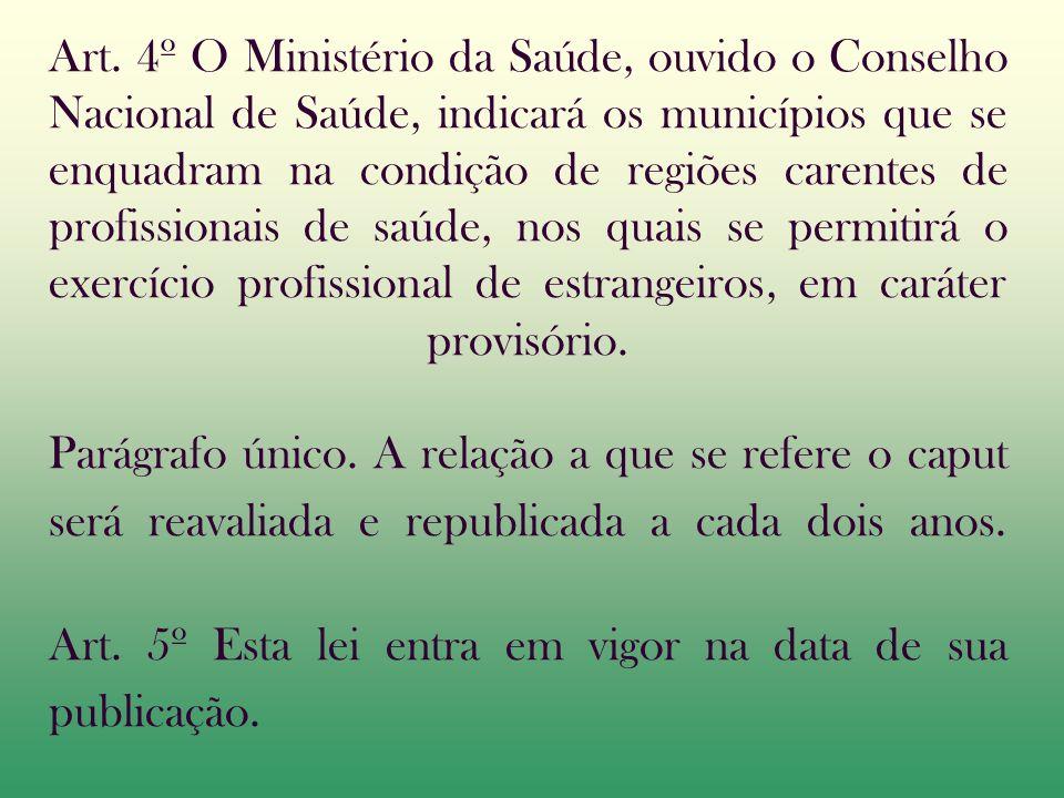 Art. 4º O Ministério da Saúde, ouvido o Conselho Nacional de Saúde, indicará os municípios que se enquadram na condição de regiões carentes de profiss
