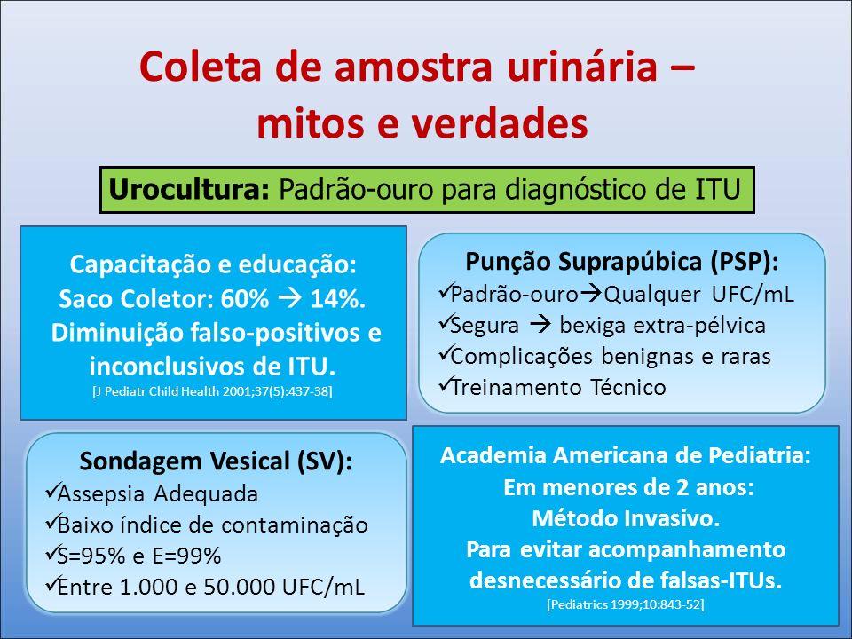 Coleta de amostra urinária – mitos e verdades Urocultura: Padrão-ouro para diagnóstico de ITU Saco Coletor (SC): Triagem Inicial – VPN Até 85% falsos