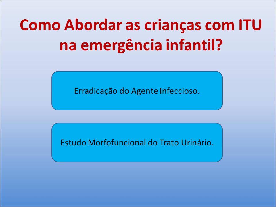 Como Abordar as crianças com ITU na emergência infantil? Erradicação do Agente Infeccioso. Estudo Morfofuncional do Trato Urinário.