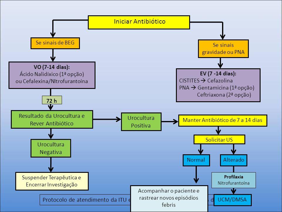Protocolo de atendimento da ITU em crianças maiores de 2 anos de idade. Iniciar Antibiótico Se sinais gravidade ou PNA Se sinais de BEG EV (7 -14 dias